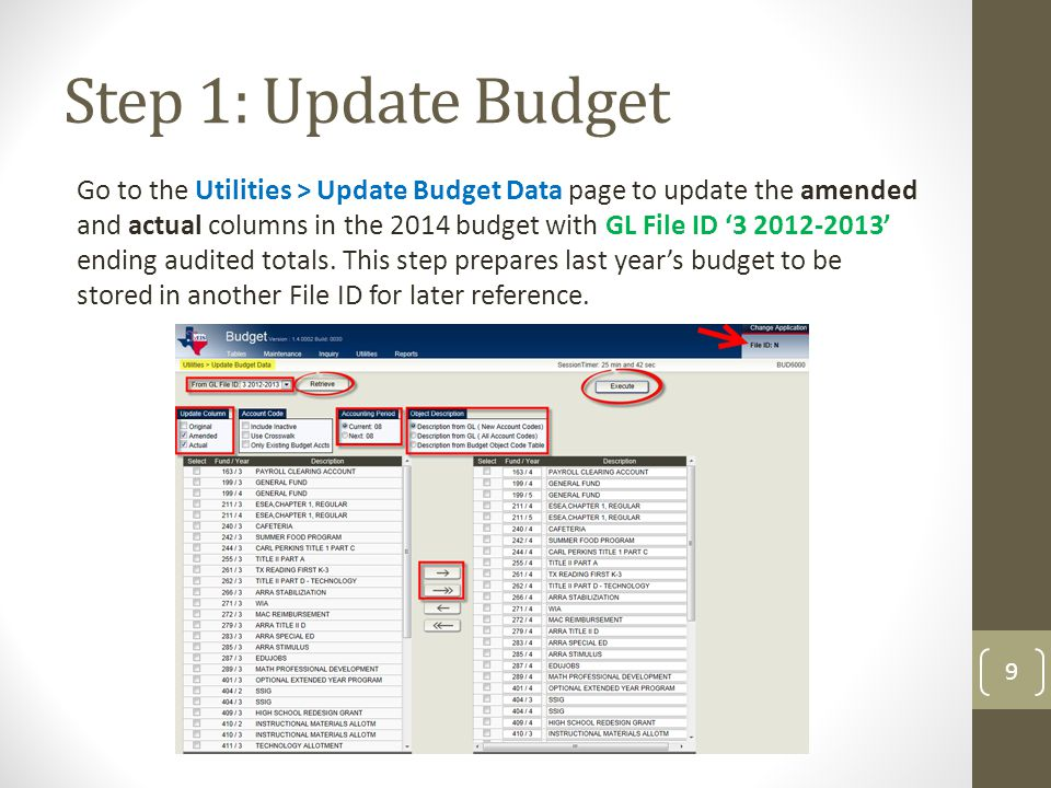 Step 1: Update Budget