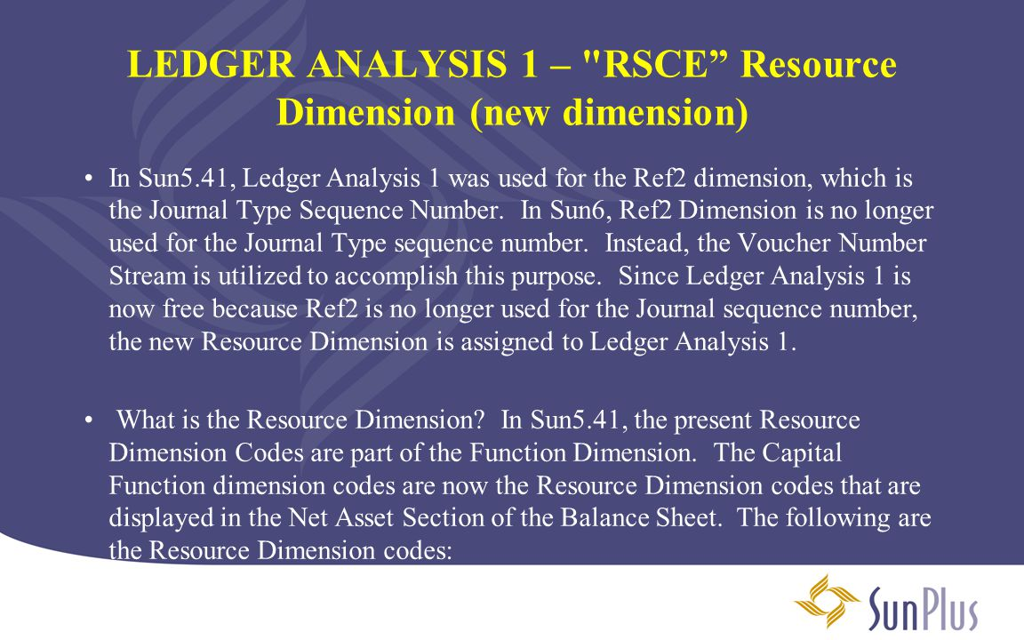 LEDGER ANALYSIS 1 – RSCE Resource Dimension (new dimension)