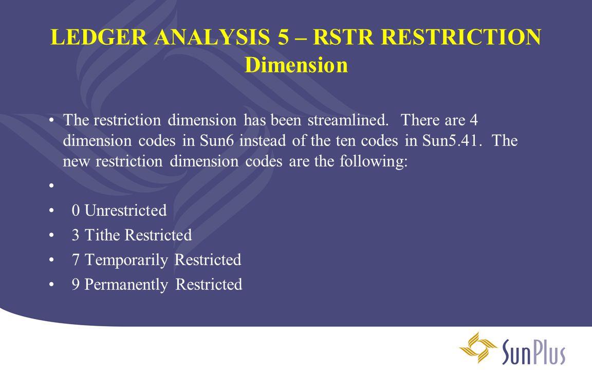 LEDGER ANALYSIS 5 – RSTR RESTRICTION Dimension