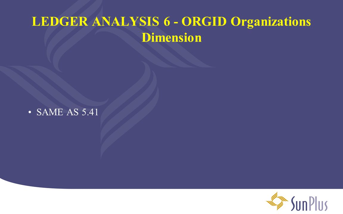 LEDGER ANALYSIS 6 - ORGID Organizations Dimension