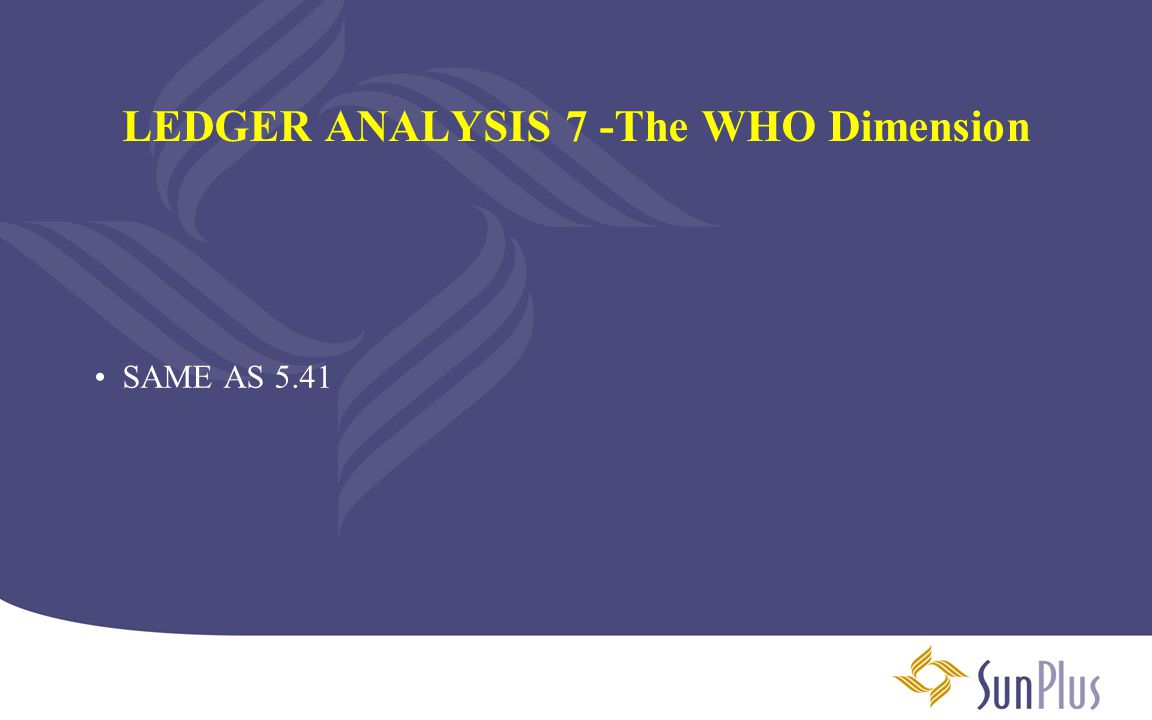 LEDGER ANALYSIS 7 -The WHO Dimension