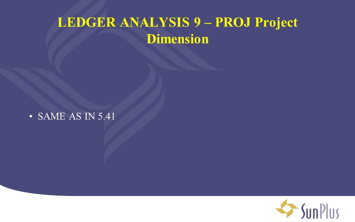 LEDGER ANALYSIS 9 – PROJ Project Dimension