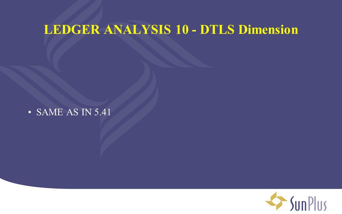 LEDGER ANALYSIS 10 - DTLS Dimension