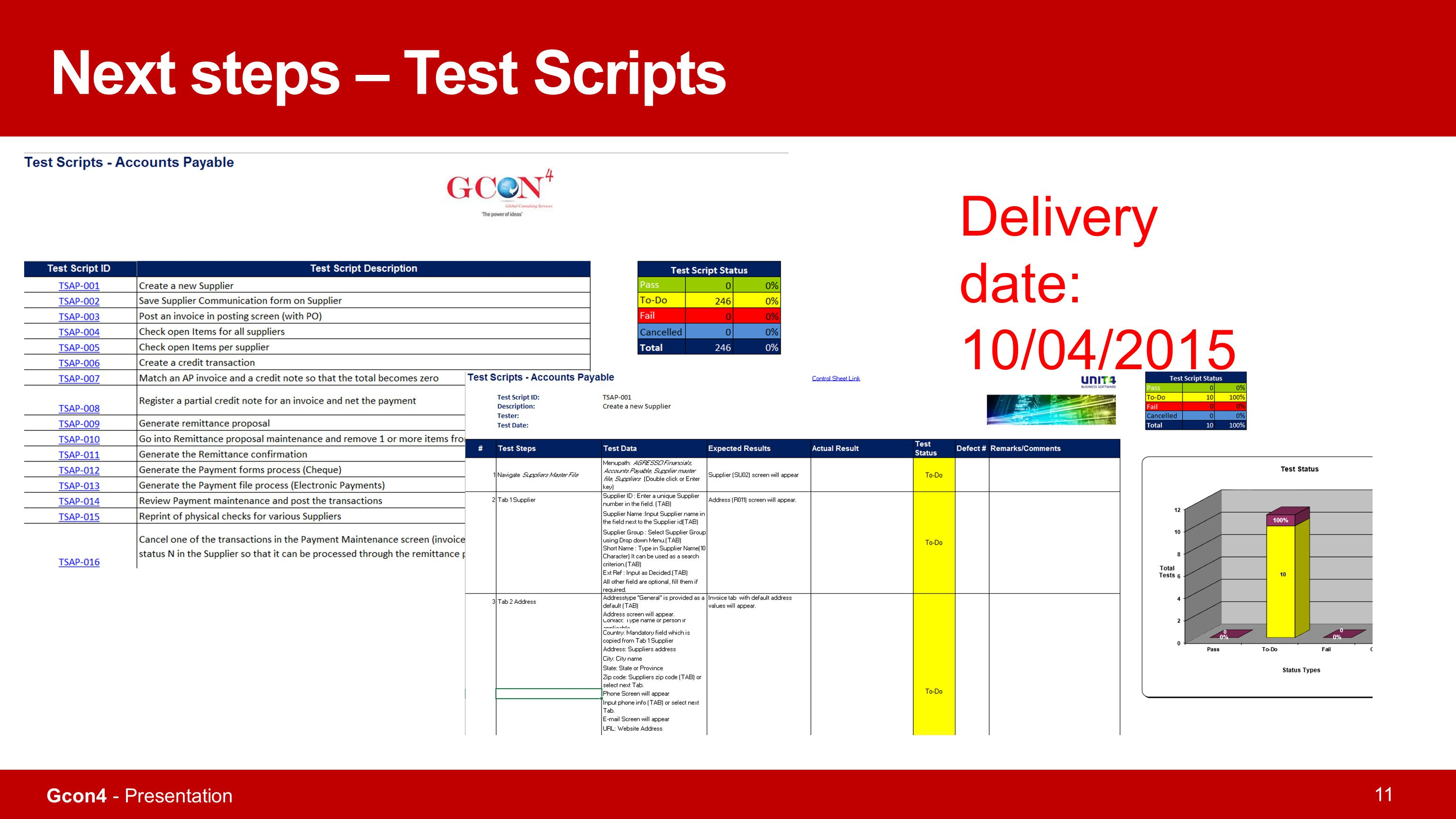 Next steps – Test Scripts