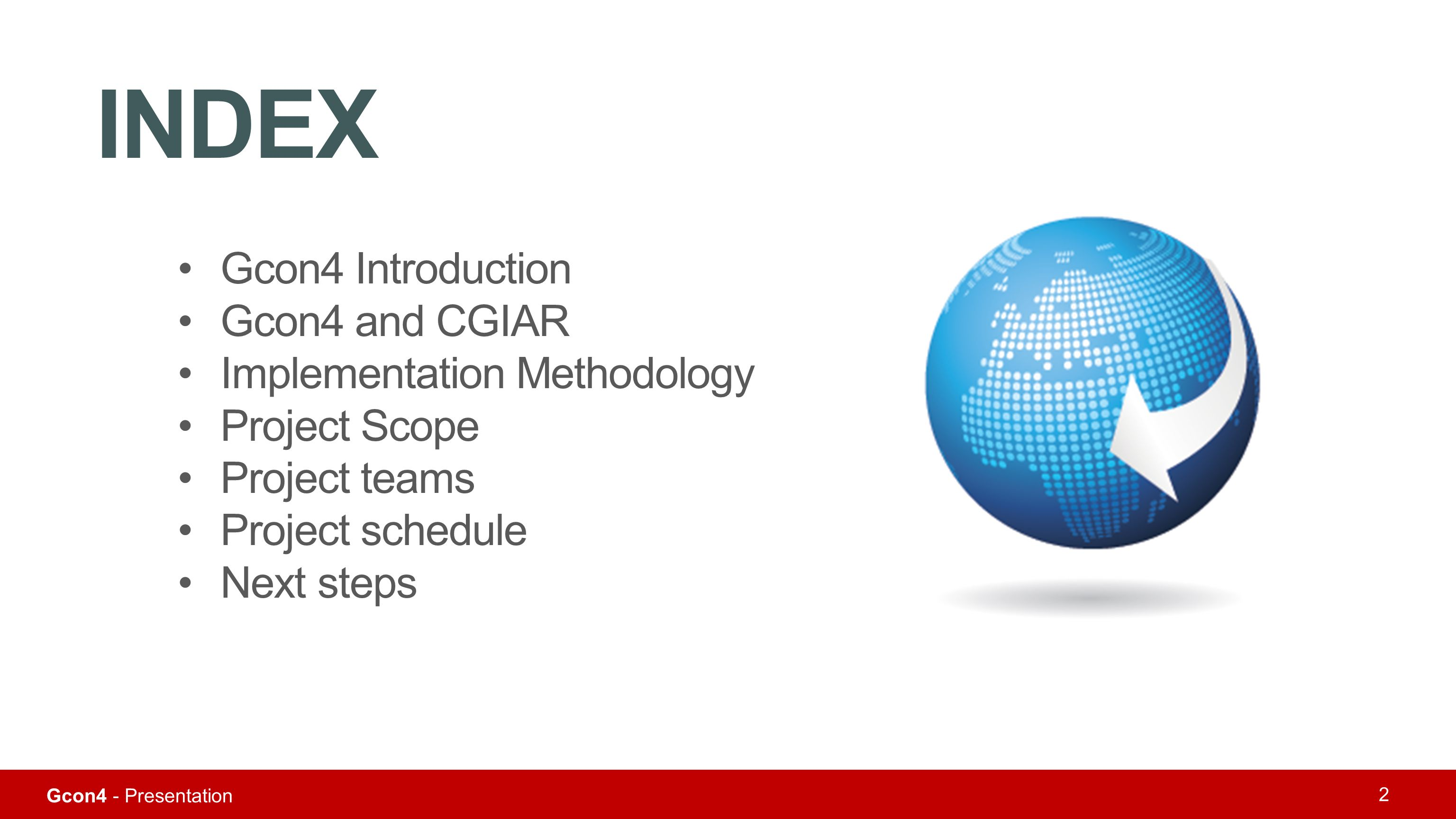 INDEX Gcon4 Introduction Gcon4 and CGIAR Implementation Methodology