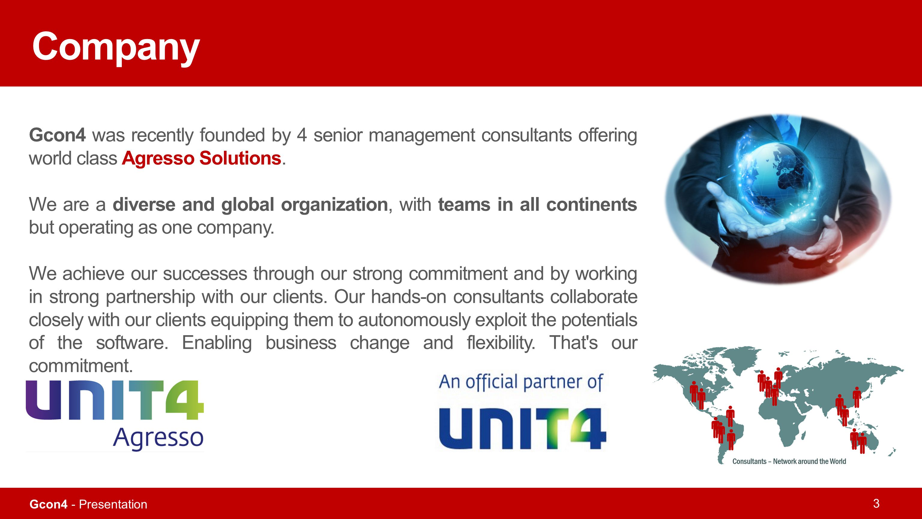 Company Gcon4 was recently founded by 4 senior management consultants offering world class Agresso Solutions.
