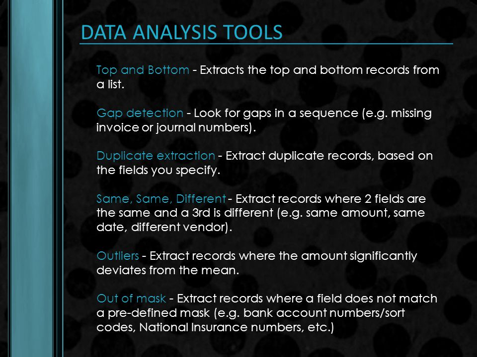 DATA ANALYSIS TOOLS Top and Bottom - Extracts the top and bottom records from a list.