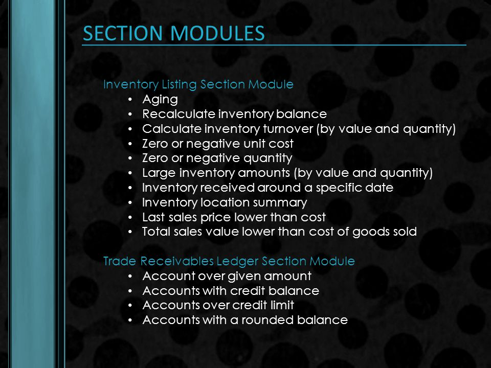 SECTION MODULES Inventory Listing Section Module Aging
