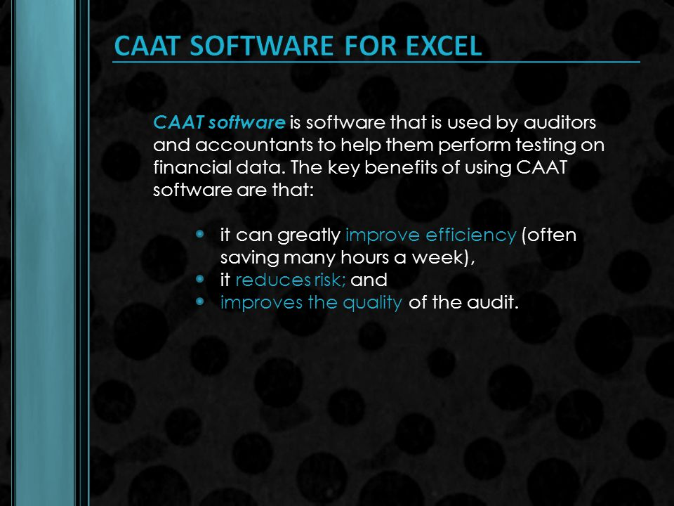CAAT SOFTWARE FOR EXCEL