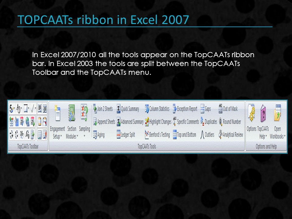 TOPCAATs ribbon in Excel 2007