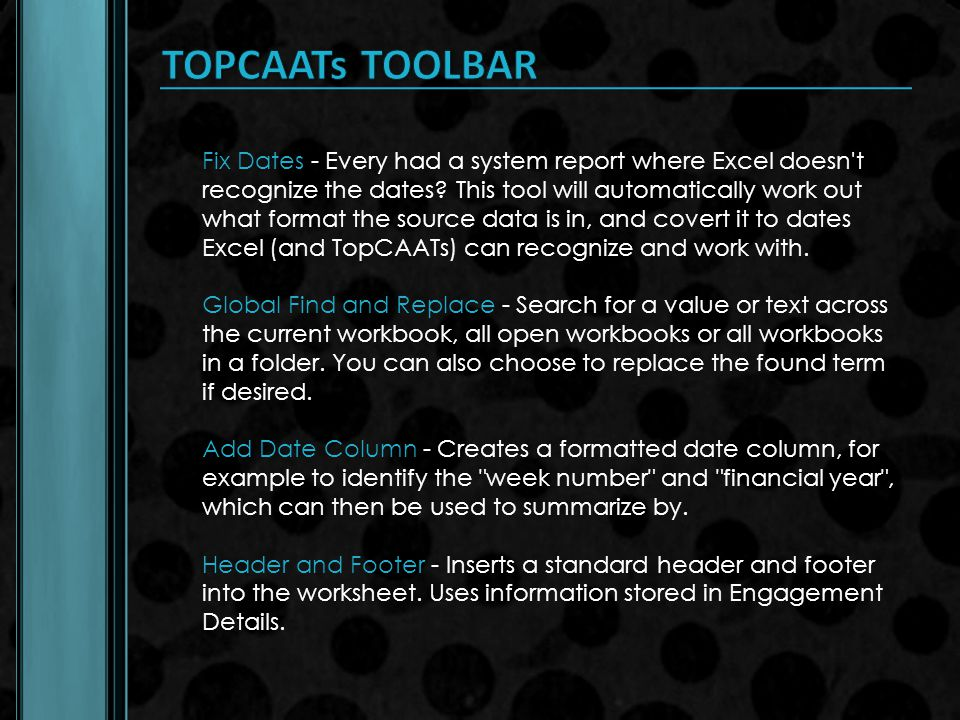 TOPCAATs TOOLBAR