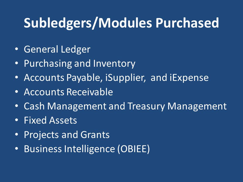 Subledgers/Modules Purchased