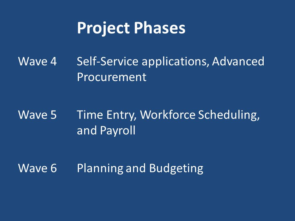 Project Phases Wave 4 Self-Service applications, Advanced Procurement