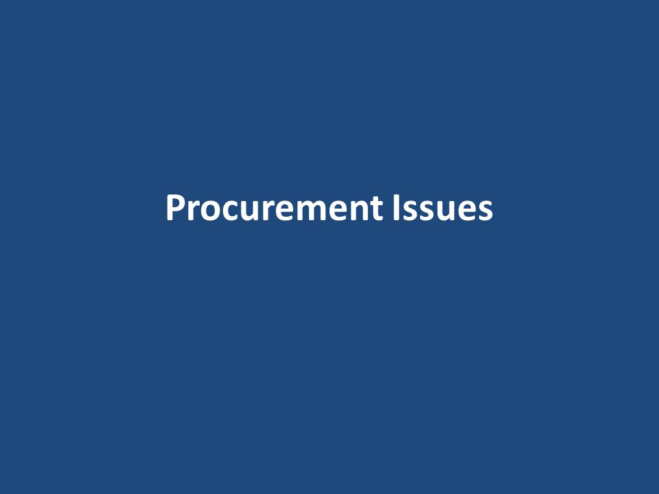 Procurement Issues