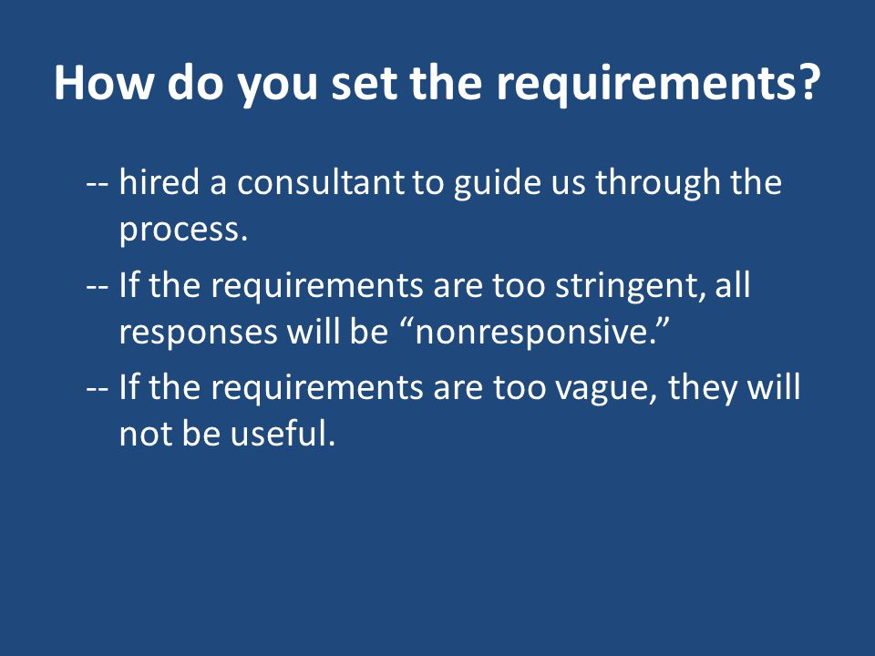 How do you set the requirements