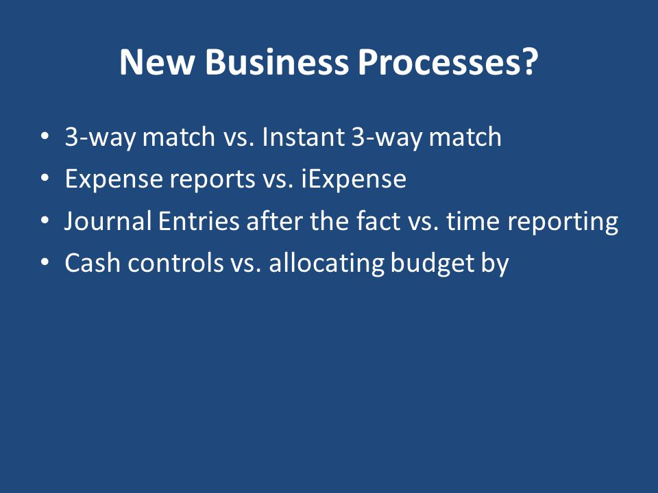 New Business Processes