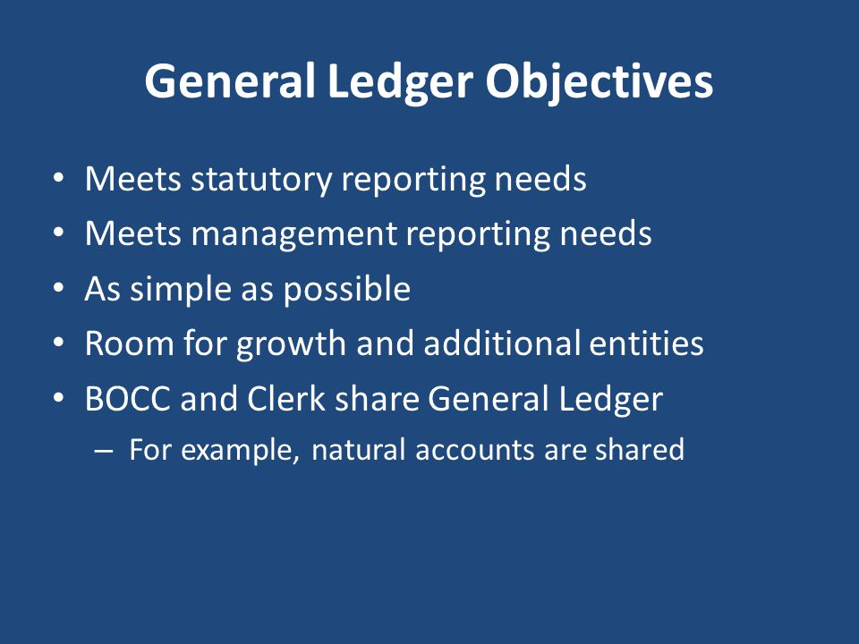 General Ledger Objectives