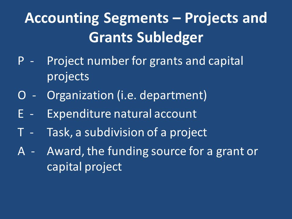 Accounting Segments – Projects and Grants Subledger