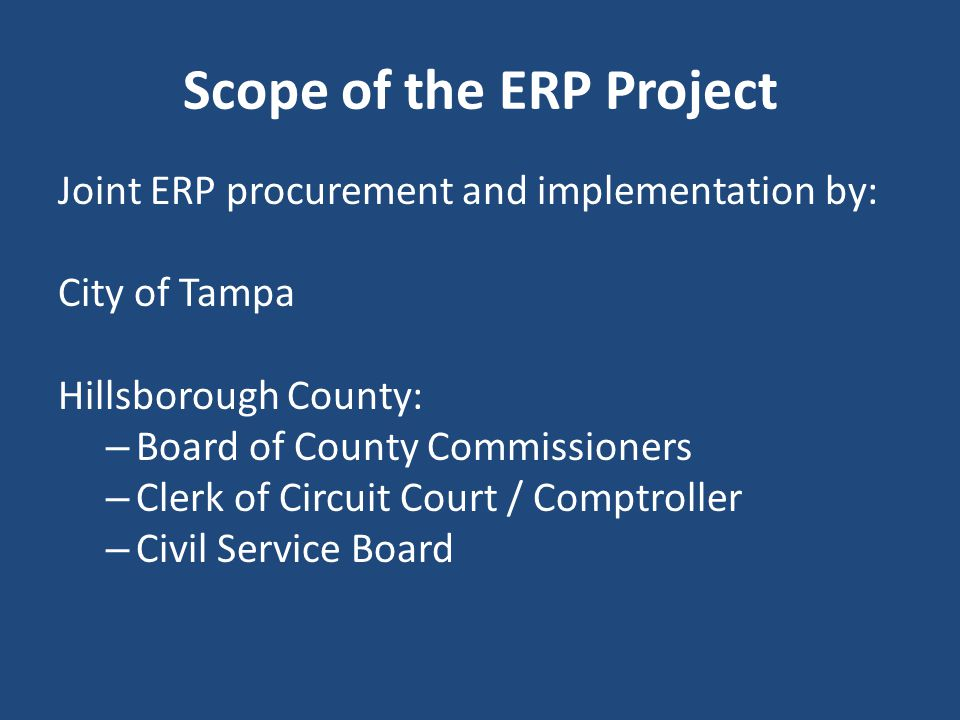 Scope of the ERP Project