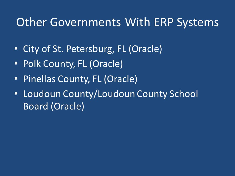 Other Governments With ERP Systems