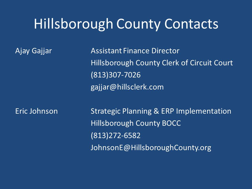 Hillsborough County Contacts