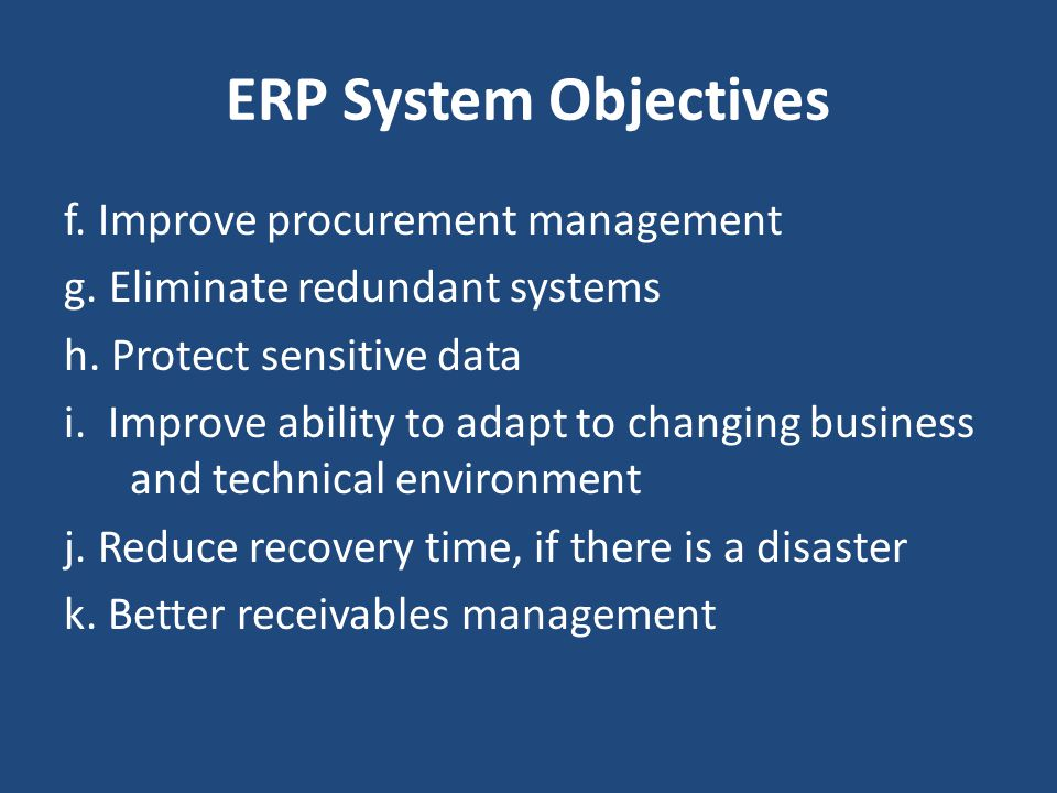 ERP System Objectives