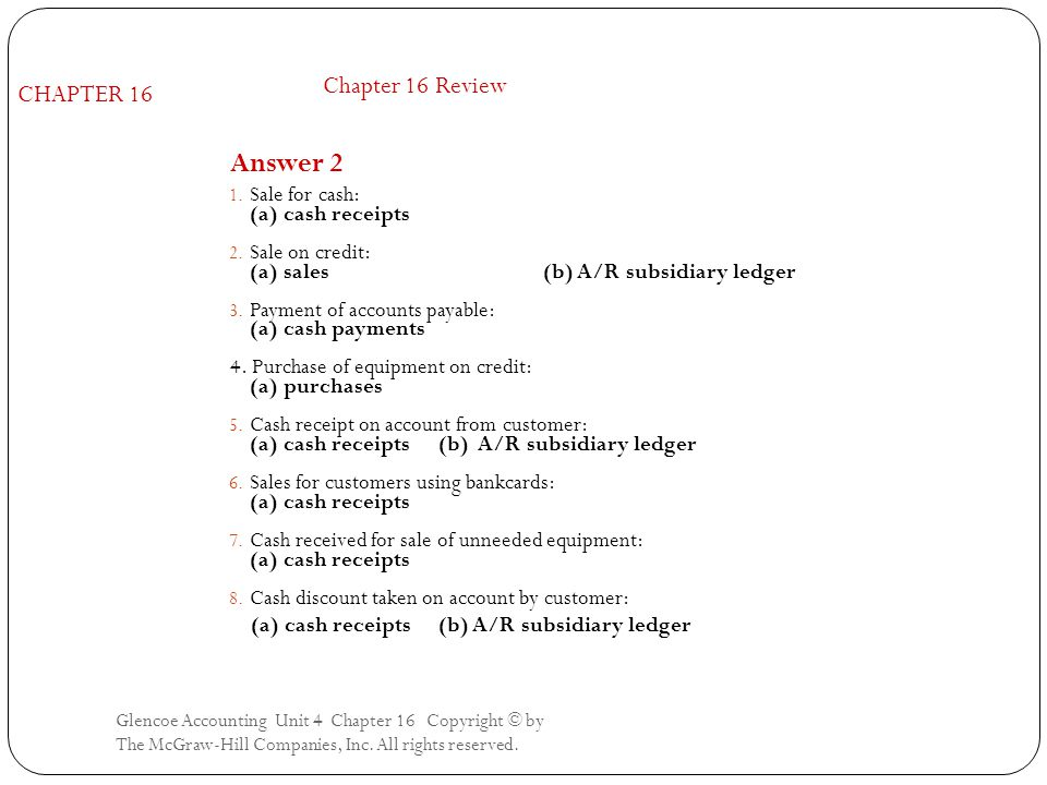 Answer 2 Chapter 16 Review CHAPTER 16 Sale for cash: (a) cash receipts