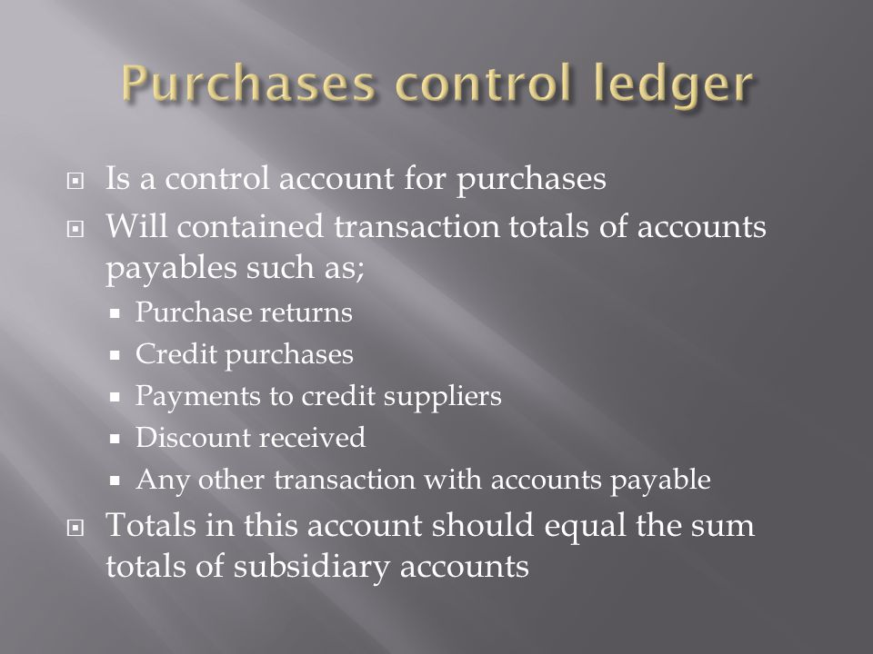 Purchases control ledger