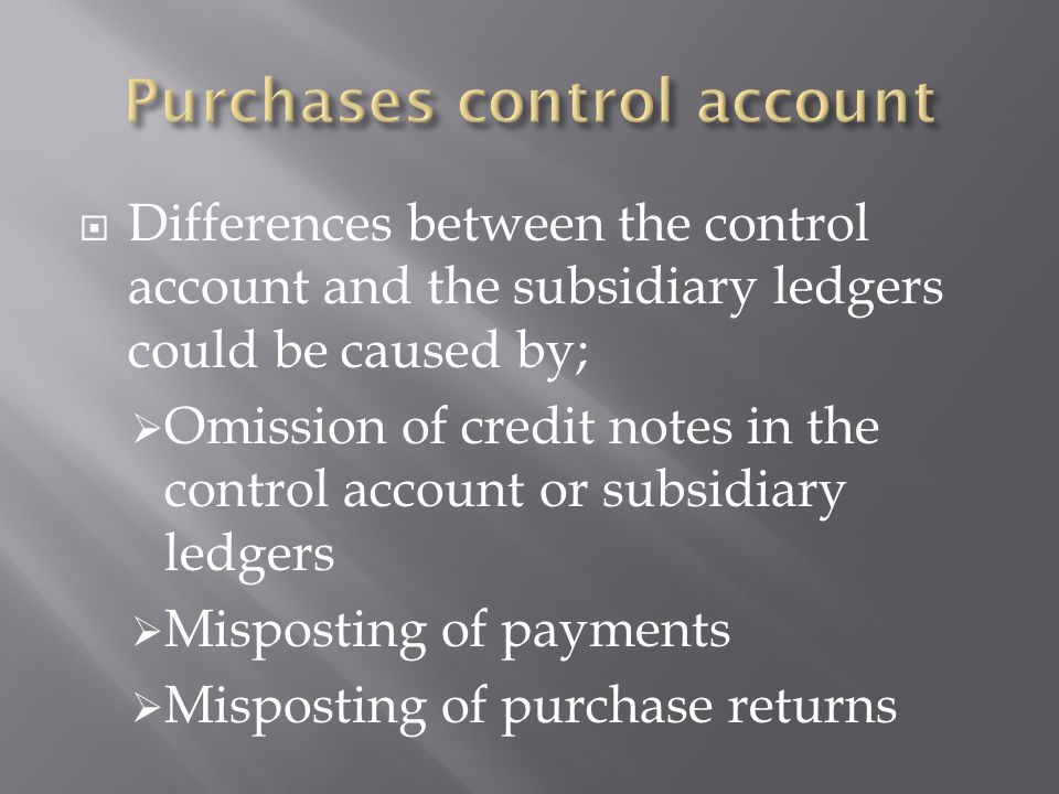 Purchases control account