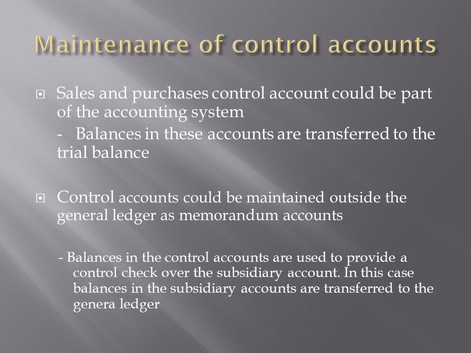 Maintenance of control accounts