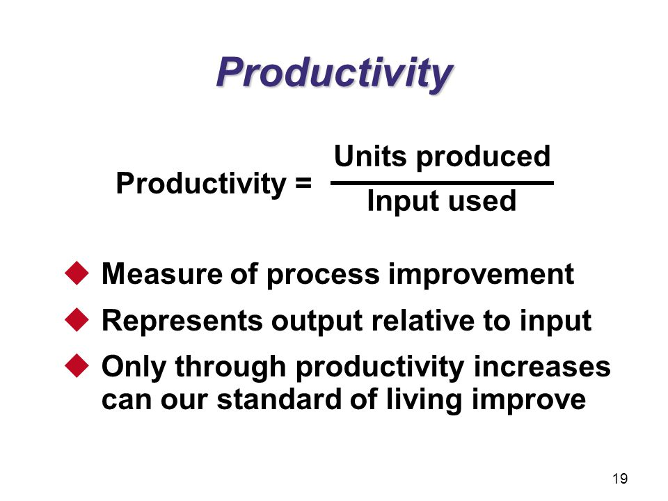 Productivity Units produced Input used Productivity =