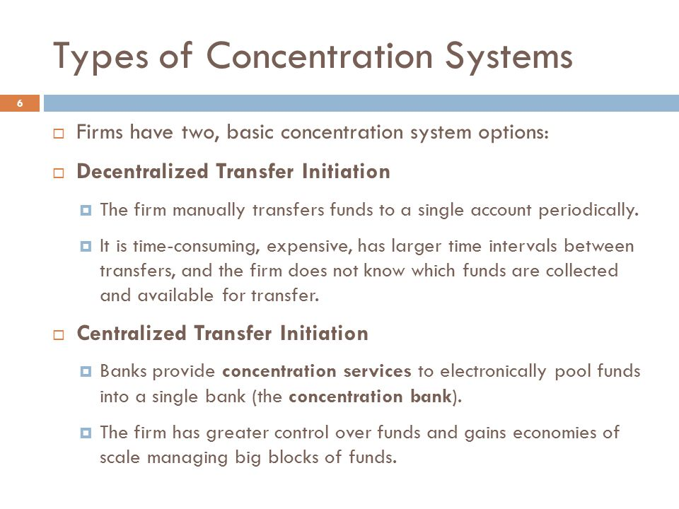Types of Concentration Systems