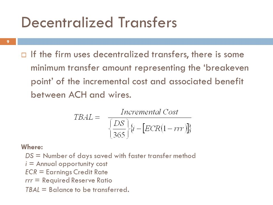 Decentralized Transfers