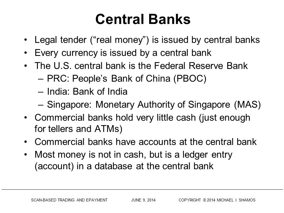 Central Banks Legal tender ( real money ) is issued by central banks