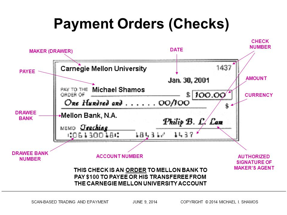 Payment Orders (Checks)