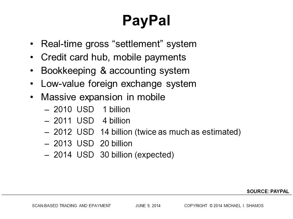 PayPal Real-time gross settlement system