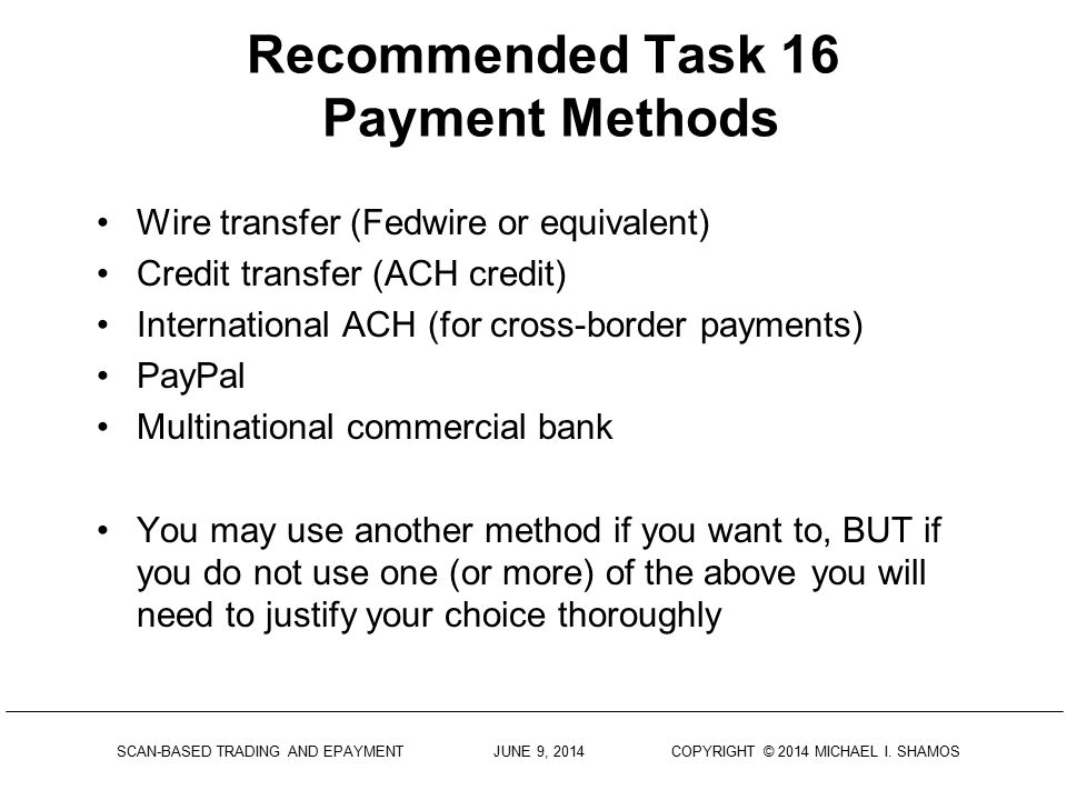 Recommended Task 16 Payment Methods