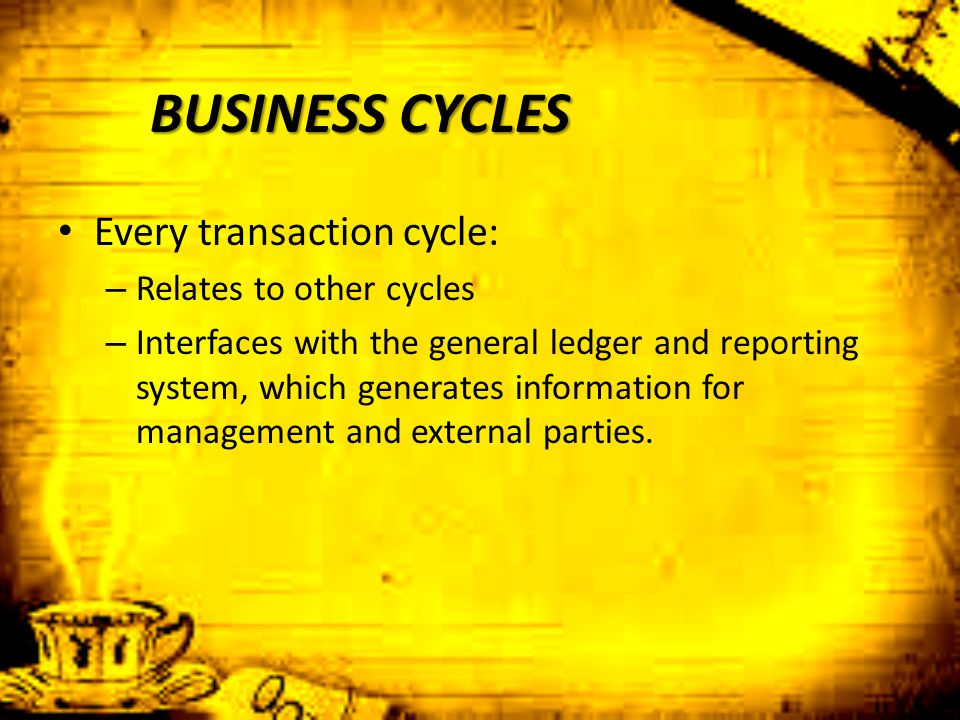 BUSINESS CYCLES Every transaction cycle: Relates to other cycles