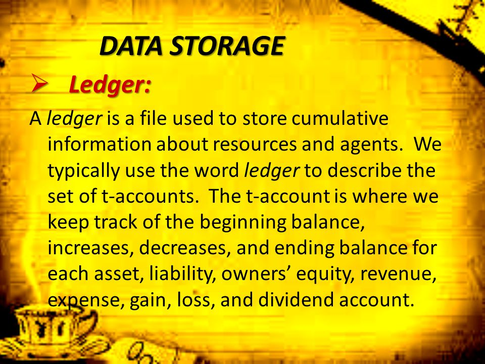DATA STORAGE Ledger: