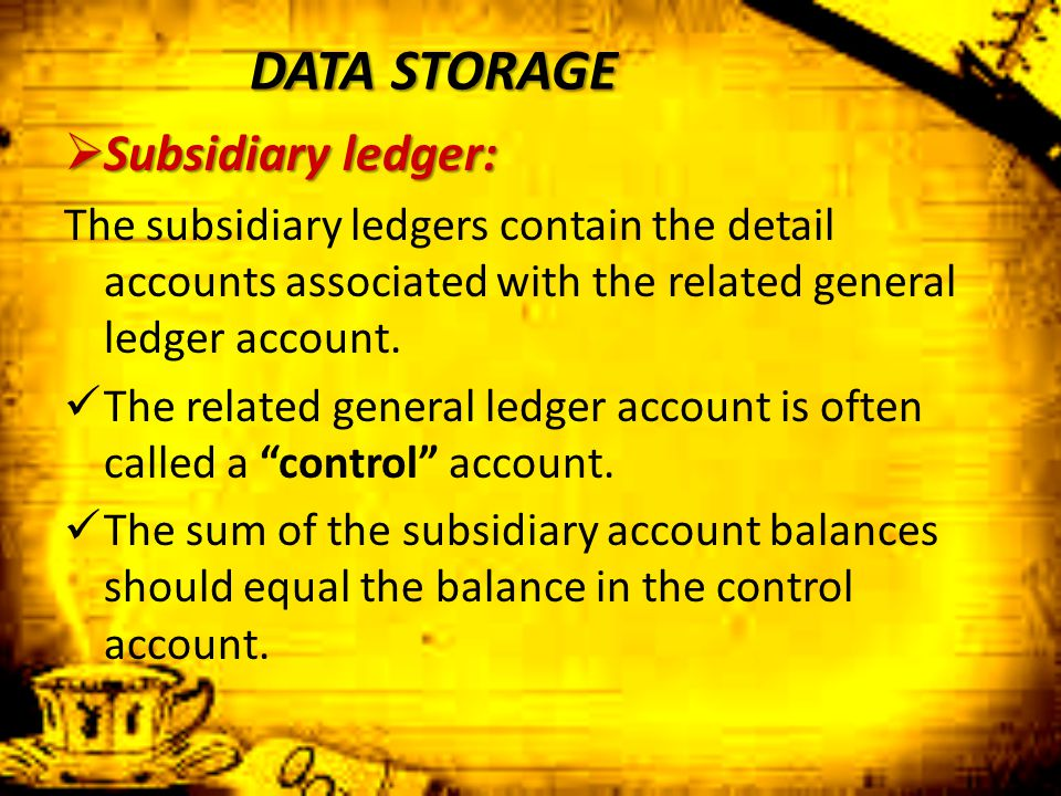 DATA STORAGE Subsidiary ledger: