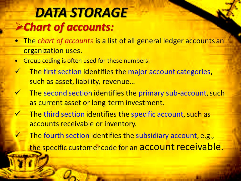 DATA STORAGE Chart of accounts: