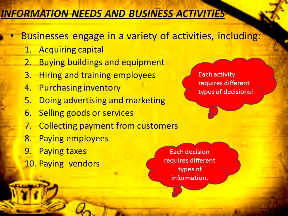 INFORMATION NEEDS AND BUSINESS ACTIVITIES