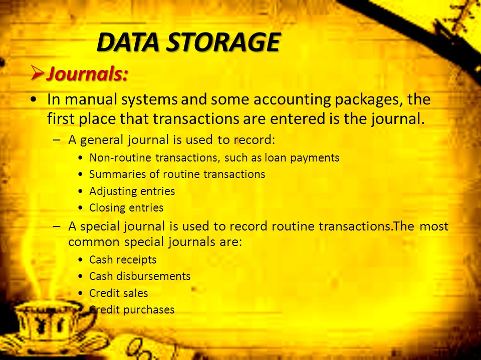 DATA STORAGE Journals: