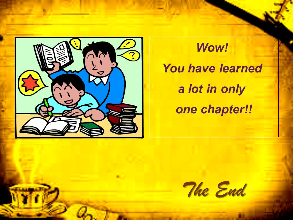 Wow! You have learned a lot in only one chapter!!