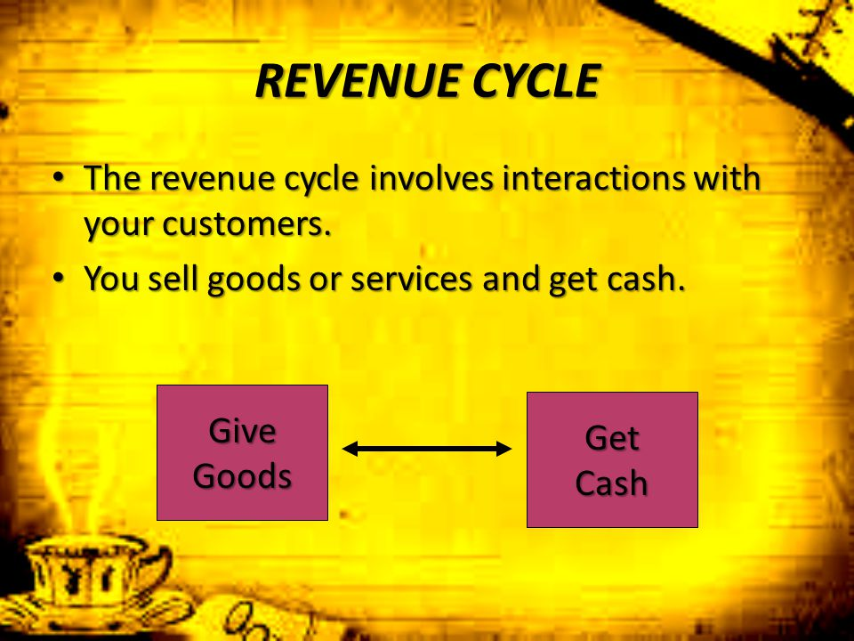REVENUE CYCLE The revenue cycle involves interactions with your customers. You sell goods or services and get cash.