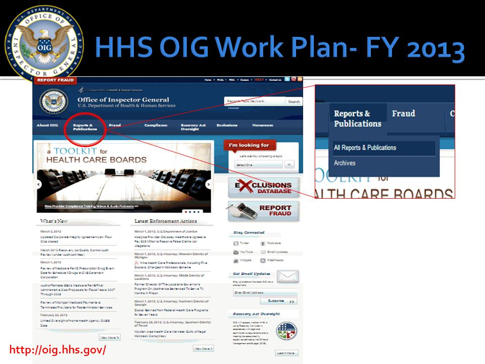 HHS OIG Work Plan- FY 2013 http://oig.hhs.gov/