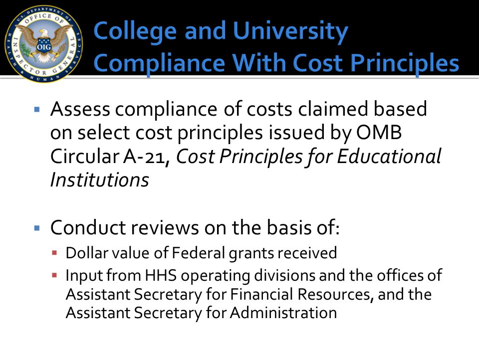 College and University Compliance With Cost Principles