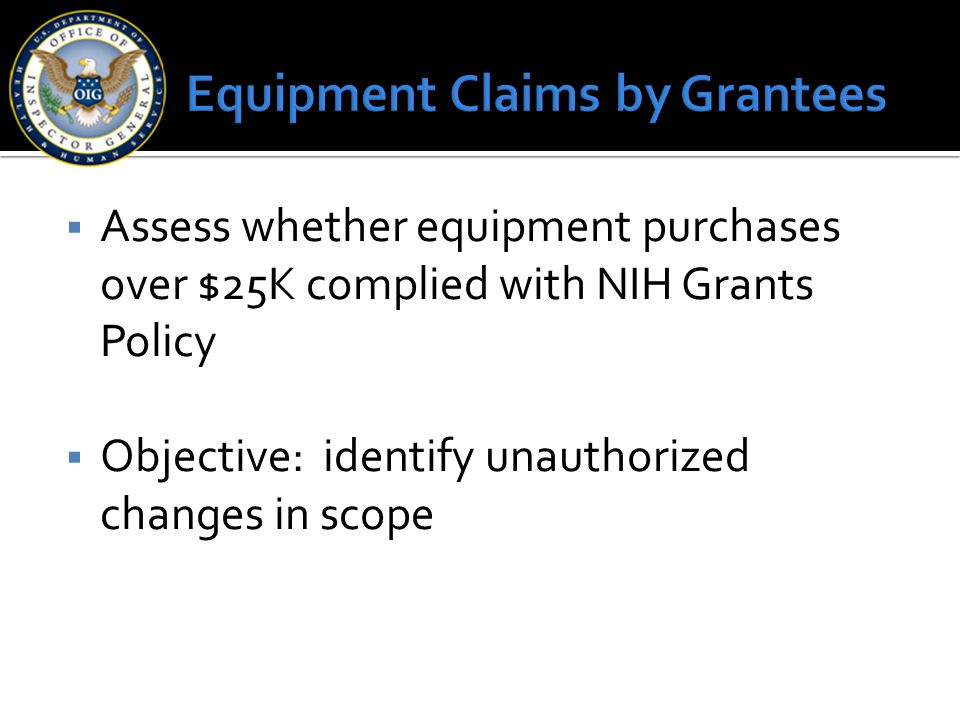 Equipment Claims by Grantees