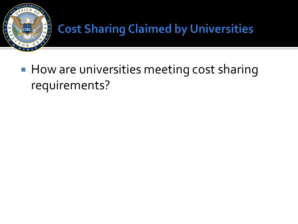 Cost Sharing Claimed by Universities