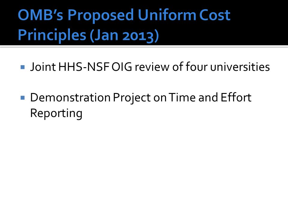 OMB's Proposed Uniform Cost Principles (Jan 2013)
